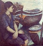 a boy and boats