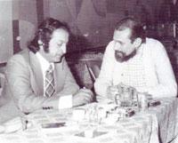 Louay Kyale with plastic artist Salah Al Din Mohammad in 1977